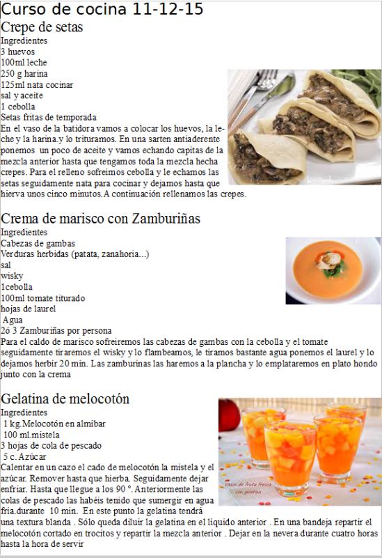 curso de cocina 11-12-15 realizado por restaurante la Era