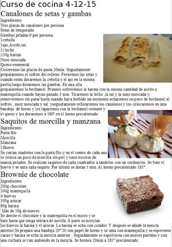 curso de cocina 4-12-15 realizado por restaurante la Era